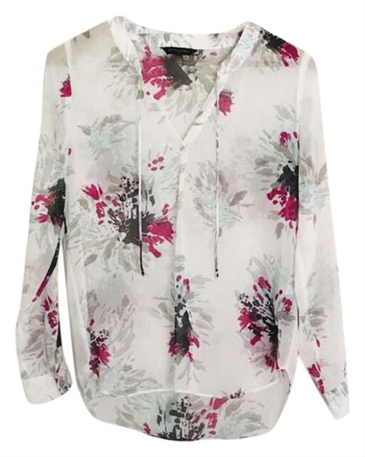 Item - Multicolor Nwot White Multifloral Blouse Size 2 (XS)