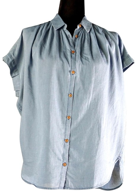 Item - Blue L Central Chambray Shirt New Button-down Top Size 14 (L)