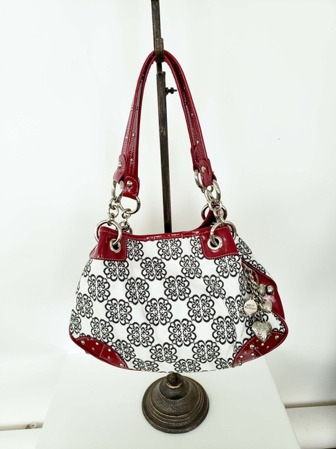 Item - Red White and Black Fabric Faux Leather Shoulder Bag