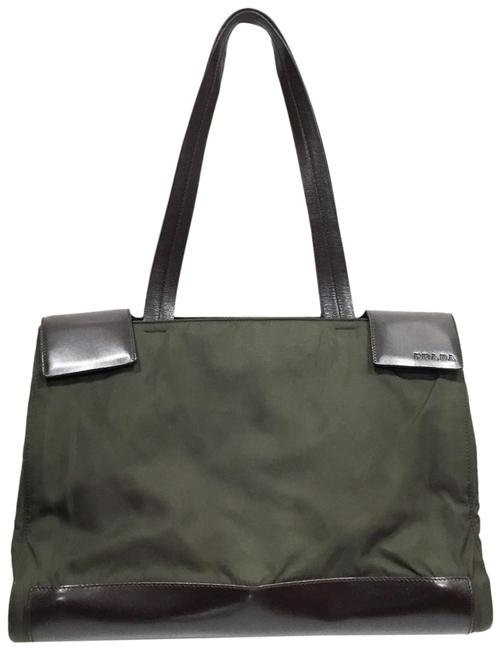 Item - Bag Brown Leather Briefcase Green Nylon Tote