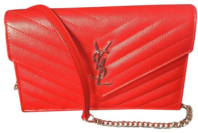 Item - Wallet on Chain Red -rouge Eros with Silver Hardware Leather Cross Body Bag