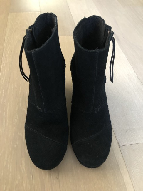 Item - Black Suede Wedge Boots/Booties Size US 6 Wide (C, D)