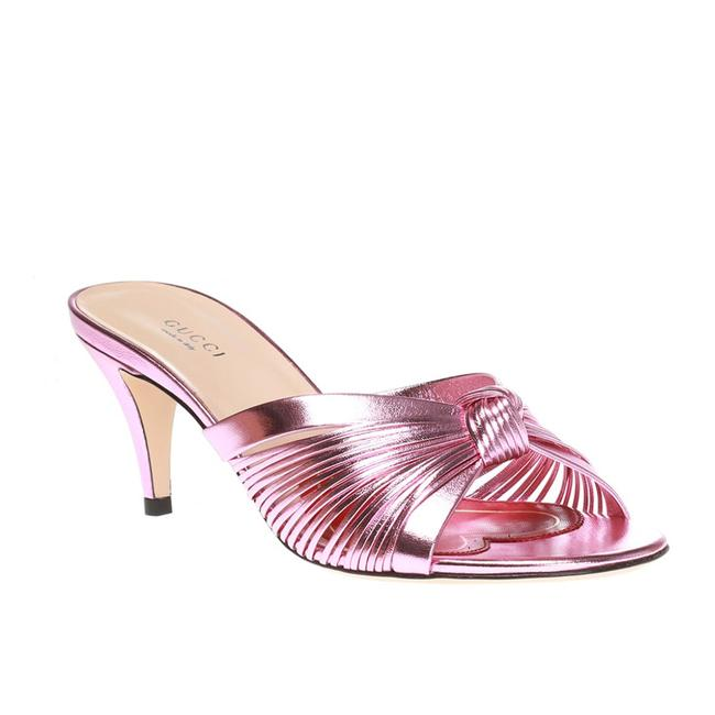 Item - Pink Women's 'crawford 65' Knotted Leather Heels Metallic Sandals Size EU 37 (Approx. US 7) Regular (M, B)