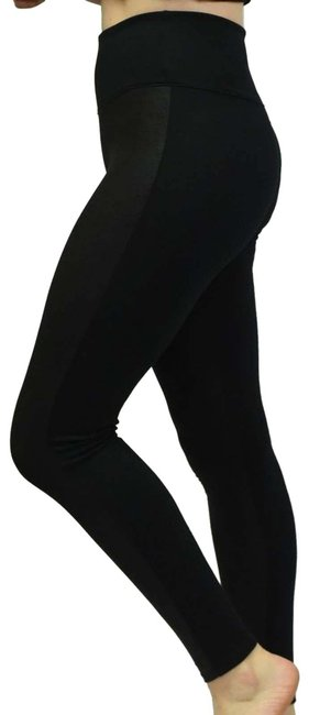 Item - Black Red Hot Faux Leather Panel Activewear Bottoms Size 8 (M, 29, 30)