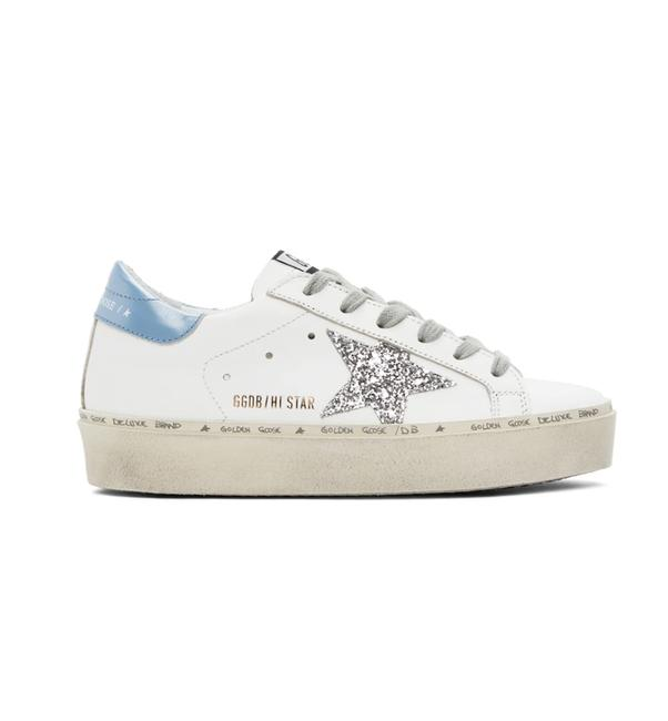Item - White Blue Silver New Hi Star Leather Sneakers Size EU 37 (Approx. US 7) Regular (M, B)
