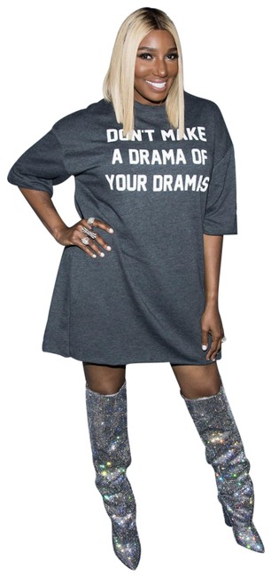 Item - Gray Don't Make A Drama Of Your Dramas Oversized Sweatshirt Mid-length Short Casual Dress Size 6 (S)