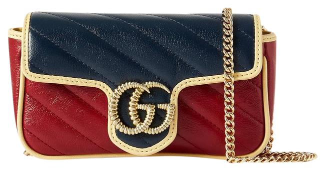 Item - Marmont Gg Super Mini Quilted Leather Navy/Red Shoulder Bag