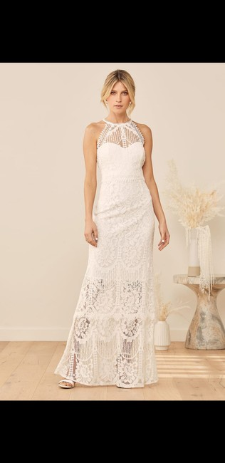 Item - White Lace Magic In The Moment Tiered Maxi Casual Wedding Dress Size 8 (M)