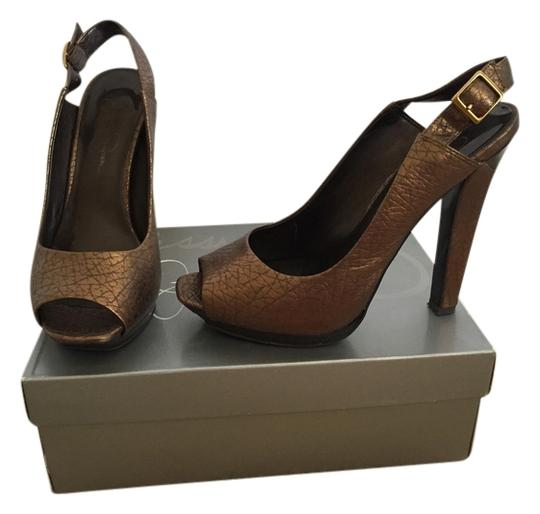 Jessica Simpson Pearlized Slingback Open Toe Bronze Platforms