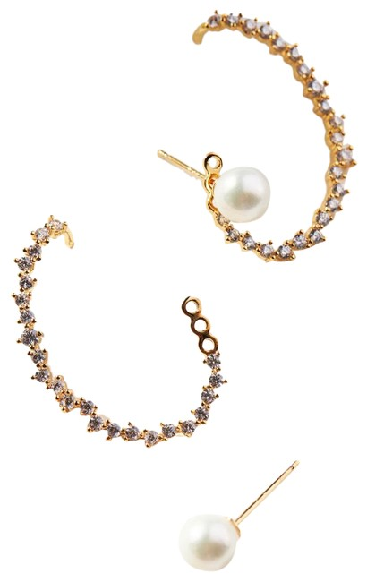 Item - Gold Pearl Embellished Sparkle Cuff Earrings