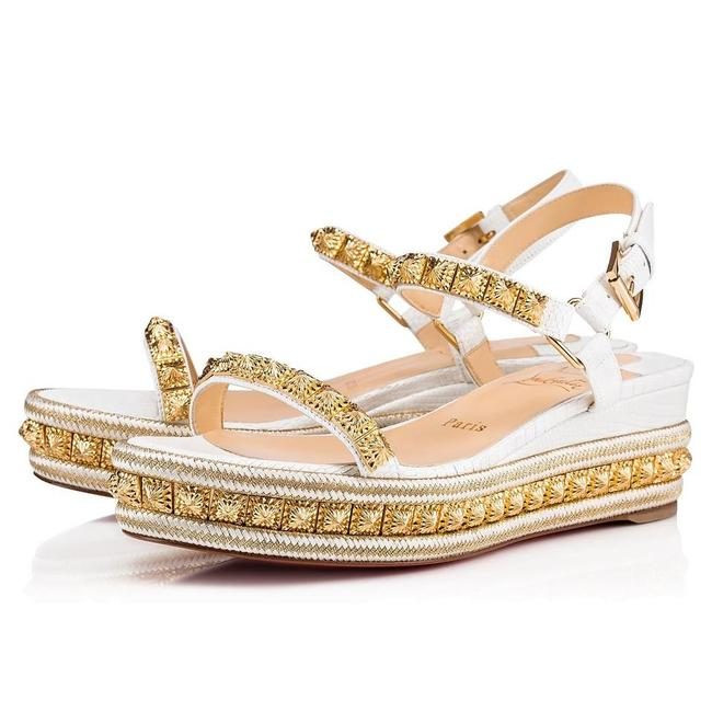 Item - White Gold Pyraclou 60 Studded Lizard-effect Leather Wedge Espadrilles Sandals Size EU 36 (Approx. US 6) Regular (M, B)