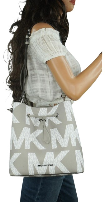 Item - Graphic Logo Convertible Mk White Grey Patent Leather Backpack