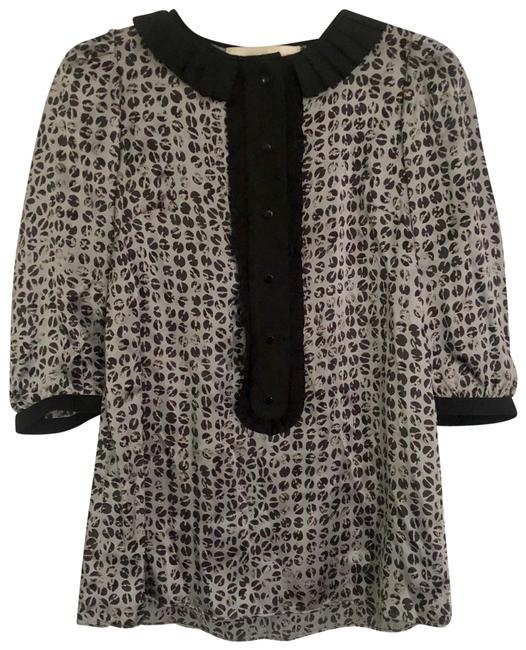 Item - Silver and Black Silk Blouse Size 0 (XS)