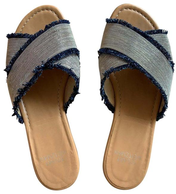 Item - Silver and Navy Blue Flats Sandals Size US 8 Regular (M, B)