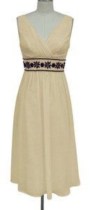 Creme Light Beige Chiffon Goddess Beaded Waist Size:3x/4x Formal Bridesmaid/Mob Dress Size 28 (Plus 3x)