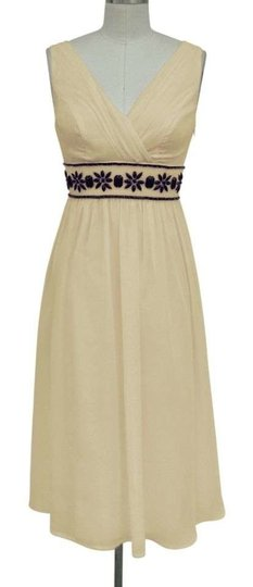 Creme Light Beige Chiffon Goddess Beaded Waist /4x Formal Bridesmaid/Mob Dress Size 28 (Plus 3x)