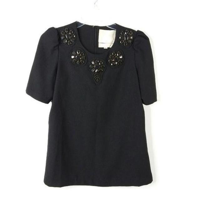 Item - Black Brown Jeweled Blouse Size 4 (S)