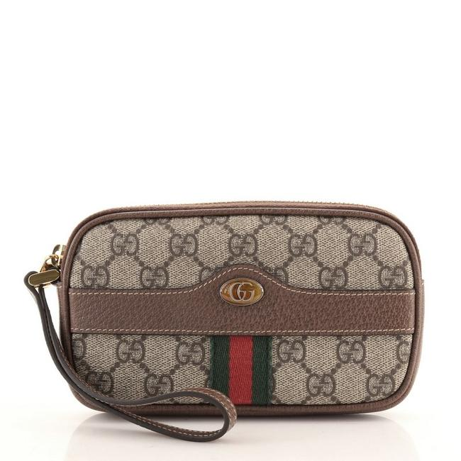 Item - Ophidia Phone Case Gg Brown Canvas Coated Clutch