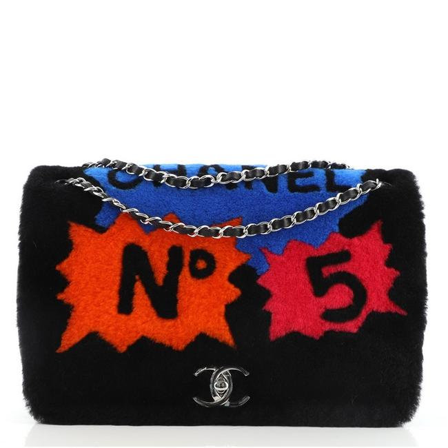 Item - Classic Flap No.5 Comic with Quilted Lambskin Jumbo Black Blue Orange Pink Leather Shearling Shoulder Bag
