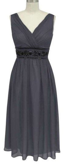 Gray Chiffon Goddess Beaded Waist Size:large Destination Dress Size 12 (L)