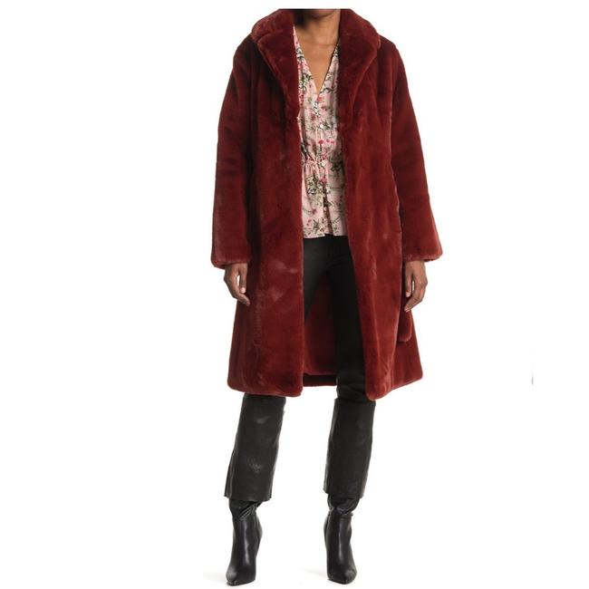 Item - Red Faux Belted Small Coat Size 4 (S)
