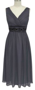 Gray Grey/gray Goddess Beaded Waist Size:large Dress