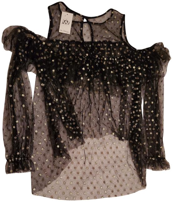 Item - See Through Gold Dotted Black Top