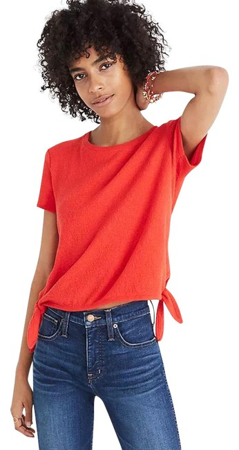 Item - Red Texture & Thread Tie Shirt Blouse Size 6 (S)