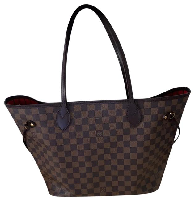 Item - Neverfull Damier Mm Brown Leather Tote
