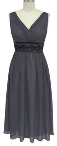 Gray Chiffon Goddess Beaded Waist Size:med Destination Bridesmaid/Mob Dress Size 8 (M)