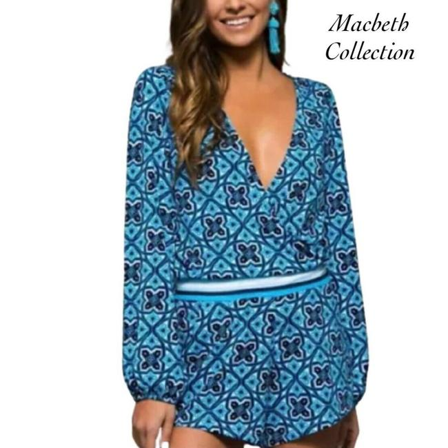 Item - Blue And White Long Sleeve Size S Romper/Jumpsuit