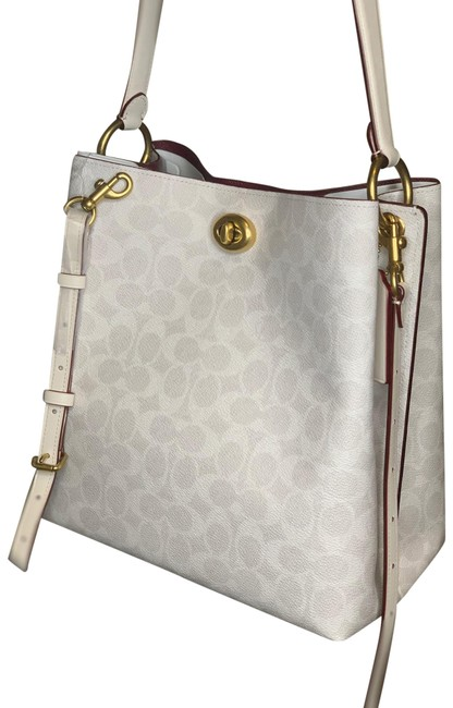 Item - Charlie Bucket In Signature Canvas - Chalk Leather Hobo Bag