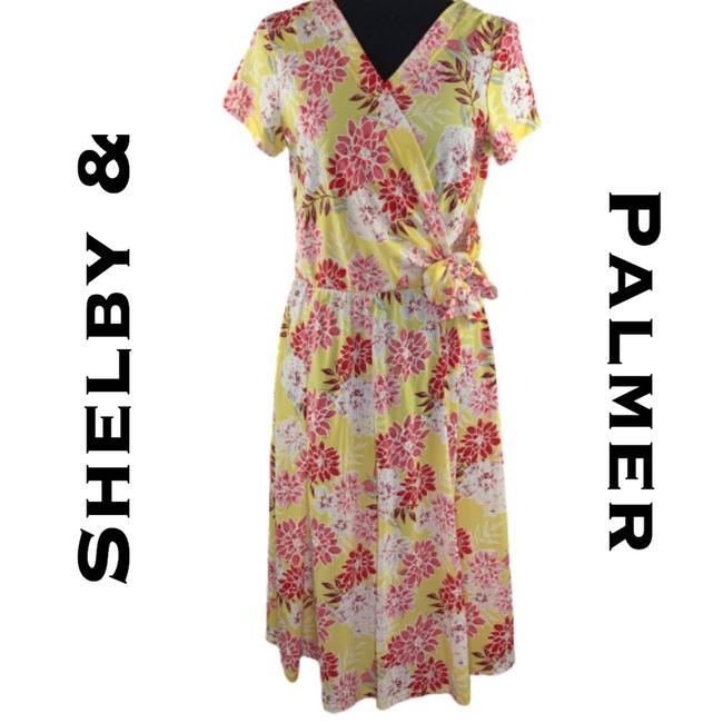 Item - Yellow Pink Floral Faux Wrap Short Casual Dress Size 6 (S)