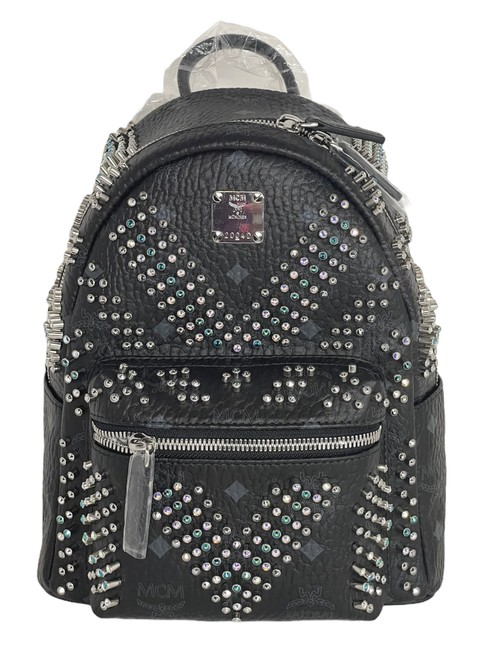 Item - Limited Edition Crystals Studs Black Leather/ Coated Canvas Backpack