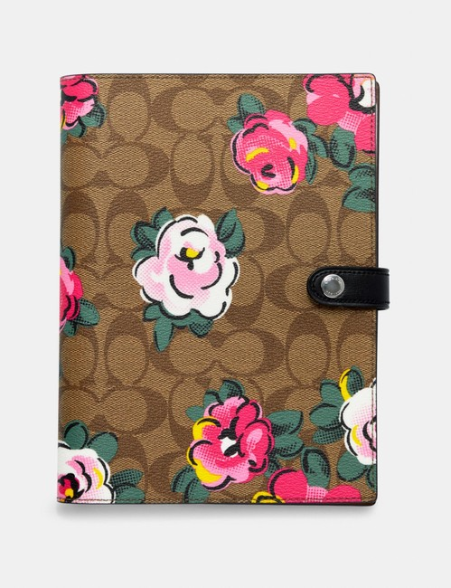 Item - Khaki/Pink Notebook In Signature Canvas with Vintage Rose Print