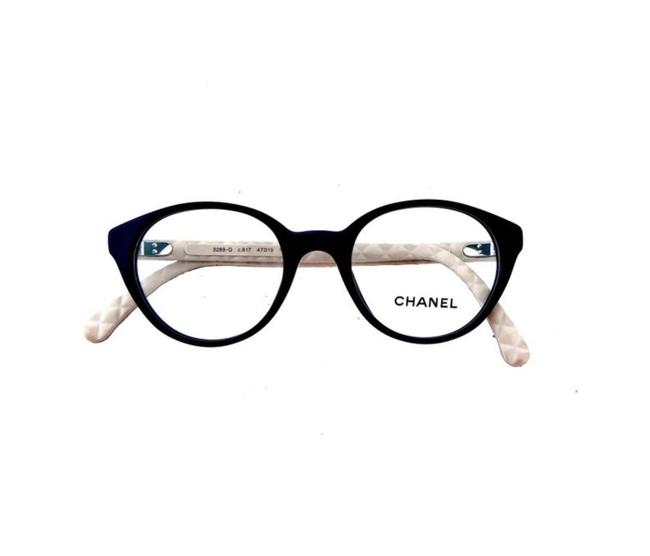 Item - Black and Beige Ch 3289-q C.817 47mm Round Quilted Leather Eyeglasses Rx Frames Italy