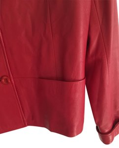 Kastoria Two Side Pockets Kastoria Soft Red Leather Jacket