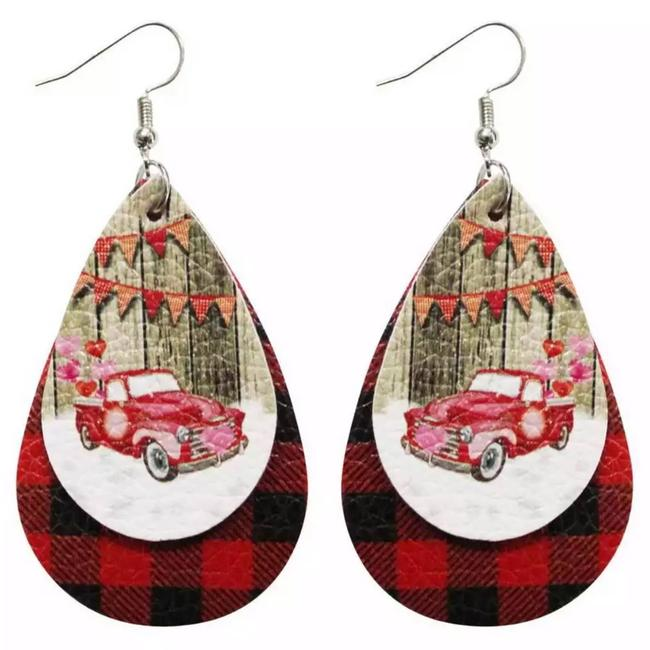 Item - Red Country Style Vegan Leather Plaid Holiday Earrings