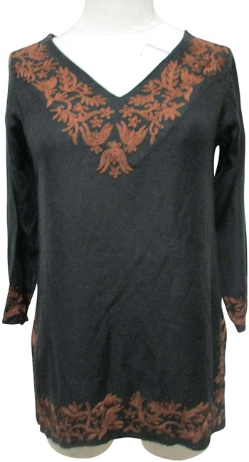 Item - Black Brown Embroidered Blouse Slits Small S Tunic Size 6 (S)