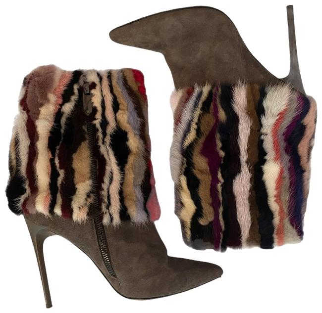 Item - Multicolor Mink Fur and Suede Stiletto Boots/Booties Size US 7 Regular (M, B)