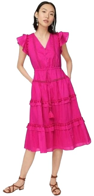 Item - Pink Cotton Voile Pom Pom Neon Short Sleeve Pockets Mid-length Casual Maxi Dress Size Petite 10 (M)