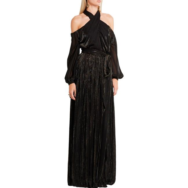 Item - Black and Multicolor Lame Cutout Long Formal Dress Size 6 (S)