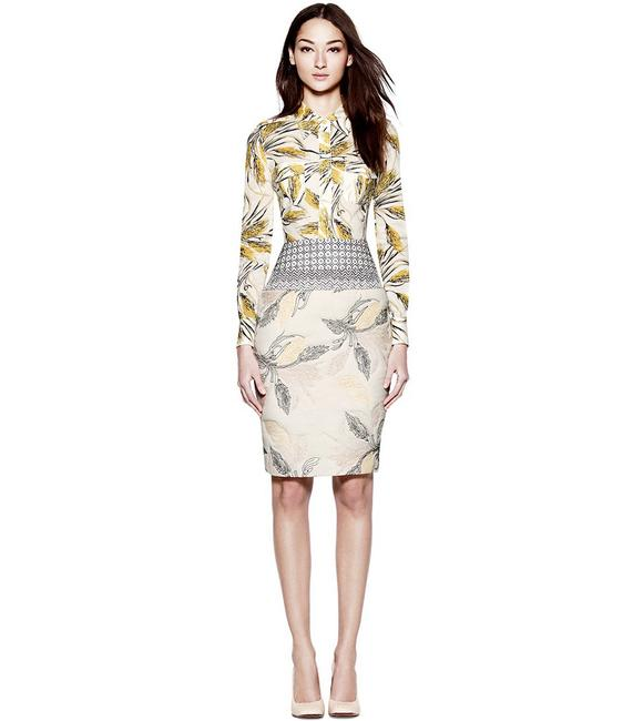 Item - Cream Yellow Navy Black Tan Embroidered Runway Collection Two-piece Wheat Print Blouse & Coordinating Pencil Skirt Set Work/Office Dress Size 6 (S)