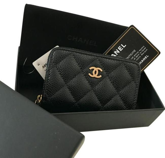 Item - Black Gold Classic Zipped Coin Purse Credit Card Holder Cc Wallet