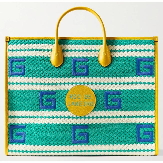Item - Top Handle Rio Leather-trimmed Embroidered Canvas Green Tote