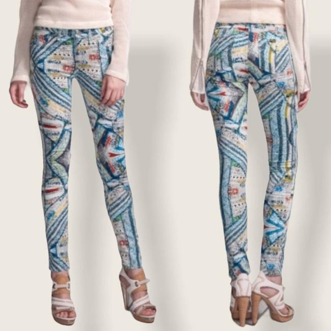 Item - Blue Surf Knit Leggings Abstract Multi Skinny Jeans Size 26 (2, XS)