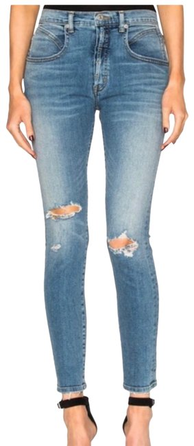 Item - Blue Distressed Super High Rise Waisted Seamed Skinny Jeans Size 2 (XS, 26)