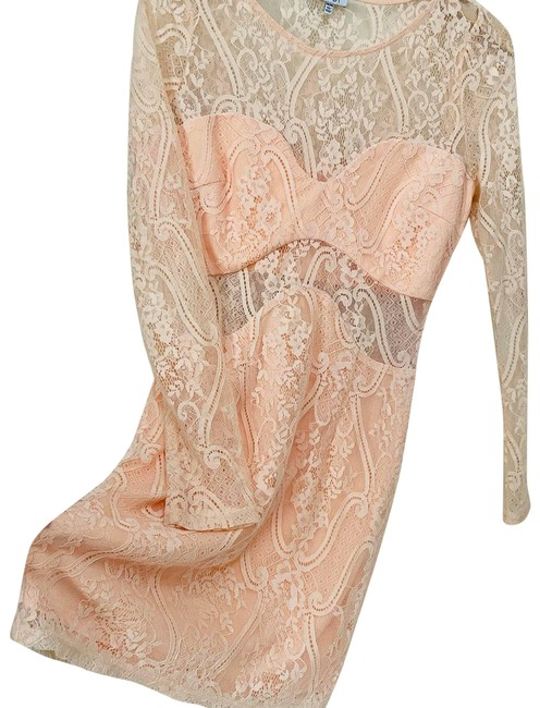 Item - Blush Pink Sheer Lace Sexy Bodycon Formal Dress Size 8 (M)