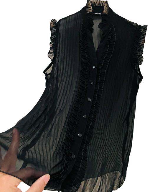Item - Black Over Sheer Victorian Style Blouse Size 10 (M)
