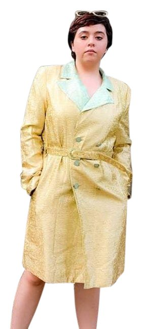 Item - Cream Double Breasted Knee Length Coat Jacket Size 12 (L)